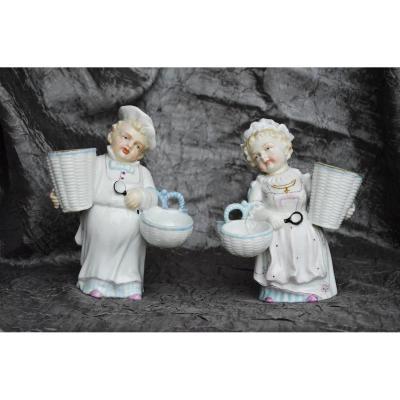 Grande Paire De Salerons En Porcelaine Figurines XIXème