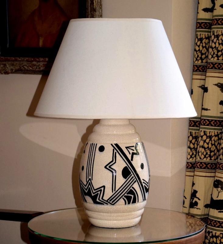 Grande lampe art déco africaniste en faïence craquelée-photo-2