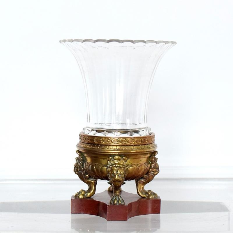Vase cornet cristal et bronze Second Empire-photo-2