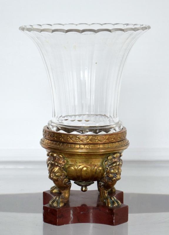 Vase cornet cristal et bronze Second Empire-photo-3