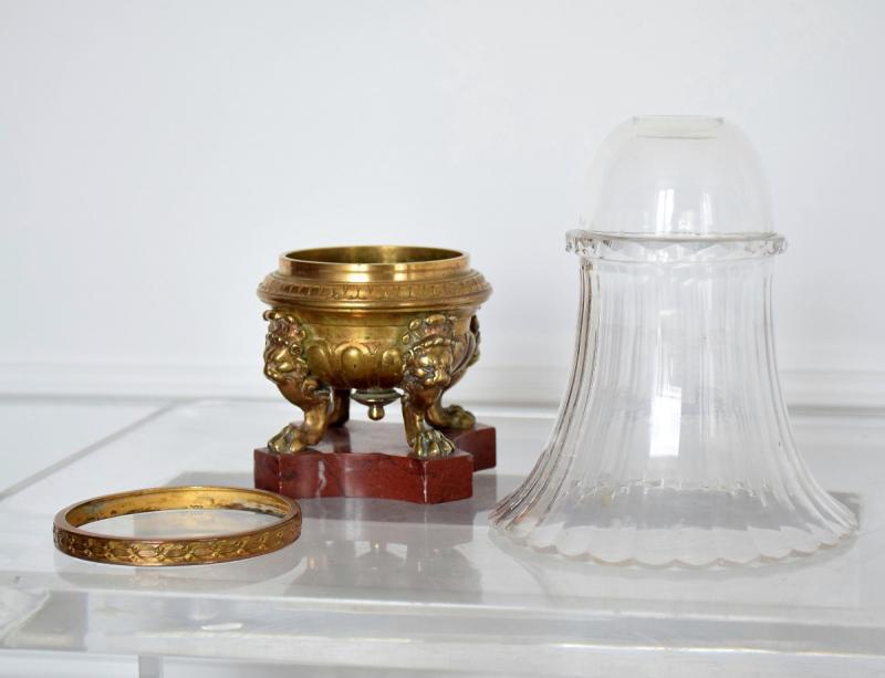 Vase cornet cristal et bronze Second Empire-photo-4