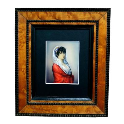 Miniature On Ivory Frame In Maple And Ebony XIXth