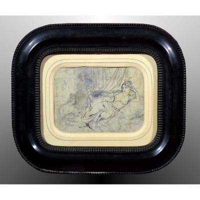 Dessin attribué à Clément-Auguste Andrieux  Odalisque