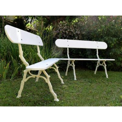 Pair Of Cast Iron And Wood Garden Benches Length 139 Cm
