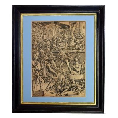 The Torture Of Saint John The Evangelist Engraving After Albrecht Dürer XIXth