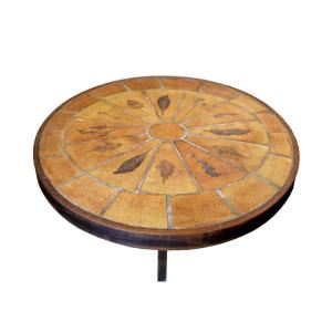 Oval Coffee Table Signed Roger Capron