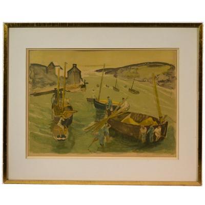 """Lithographie """"port Breton Animé"""" Par Pierre-eugène Clairin"""