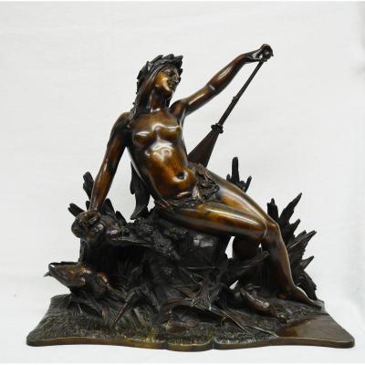 """Grande Sculpture Bronze """"naïade"""" XIXè"""