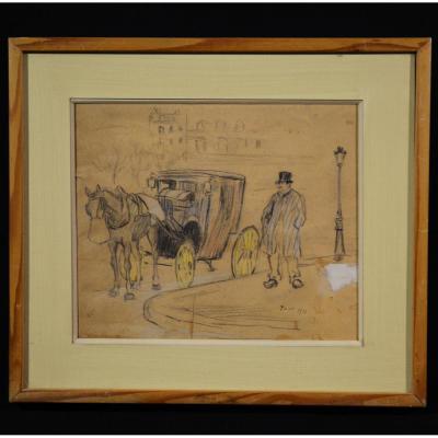 Dessin Pastel Le Cocher De Fiacre Paris 1910