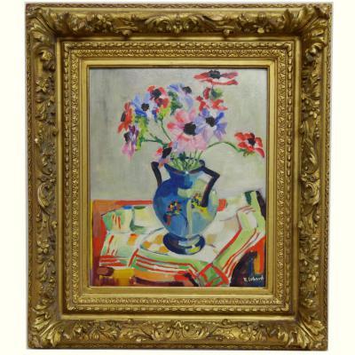 Tableau Cubiste Vase De Fleurs Aux Anémones Par R.lebaud