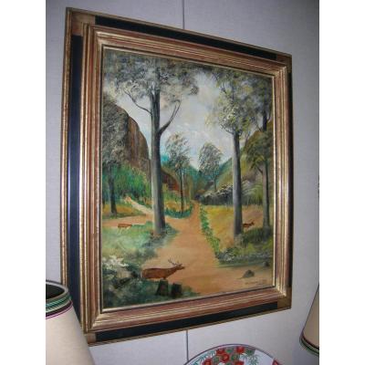Tableau De Chasse Naïf Peinture Sur Toile Signé Martinez. Aug