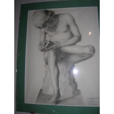 Dessin d'Examen Des Beaux Arts De Reims Au Fusain Et Crayon