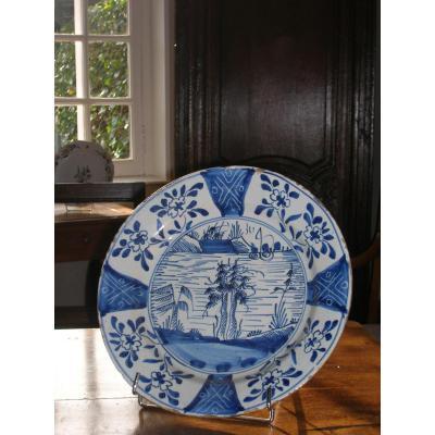 Plat En Faïence De Delft époque 17em Décor Camaïeu Bleu