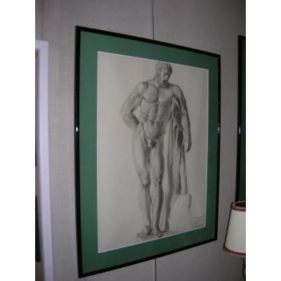 Dessin d'Examen Des Beaux Arts De Reims Au Fusain Et Crayon d'Après Sculpture