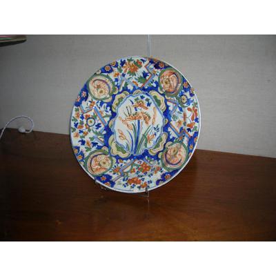 Plat En Faïence De Delft époque 19em Décor  Floral Multicolore