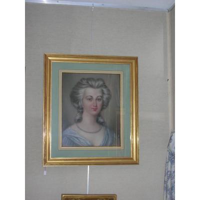 Pastel Sur Papier  époque Fin XIXem Representant Une Jeune Fille Romantique