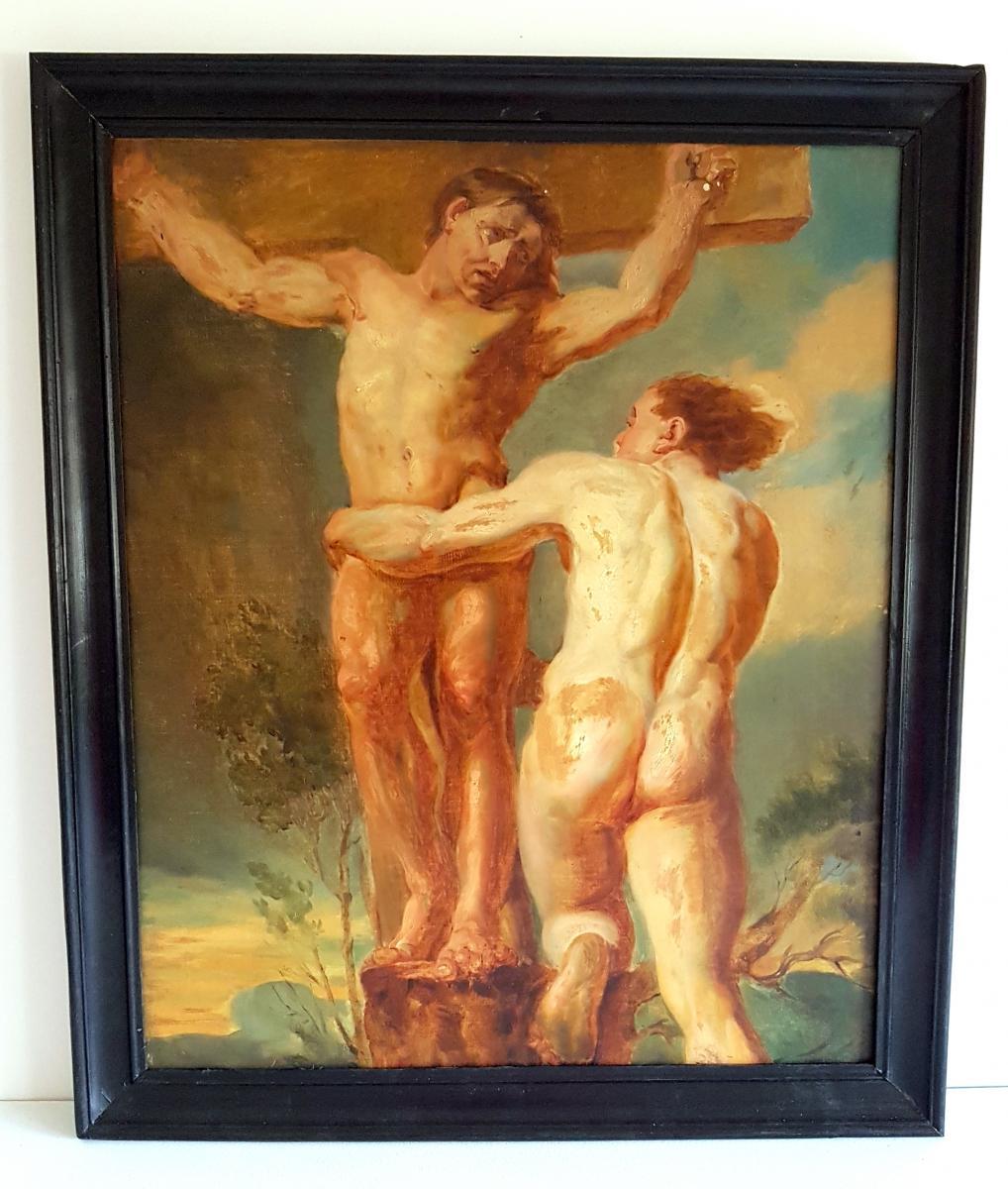 Tableau Scène De Crucifixion Début XIXème Siècle