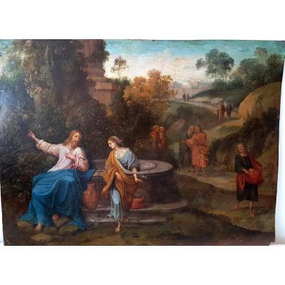 Tableau Ancien Jesus Et La Samaritaine Debut XVIIème Siècle