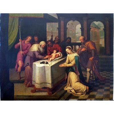 Tableau La Circoncision Du Christ Du XVIIème Siècle