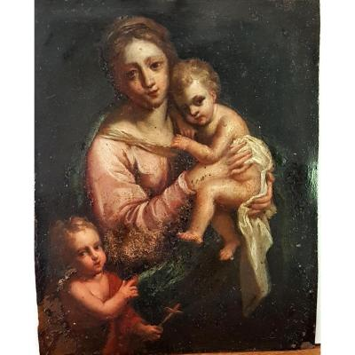 Vierge A l'Enfant Avec Saintt Jean Baptiste Ecole De Parme