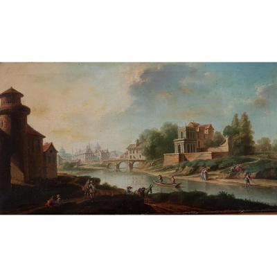 Table Beginning XVIIIth Century View On An Animated City
