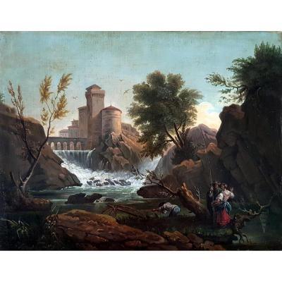 Landscape At La Cascade Italian School Of The XVIIIth Century