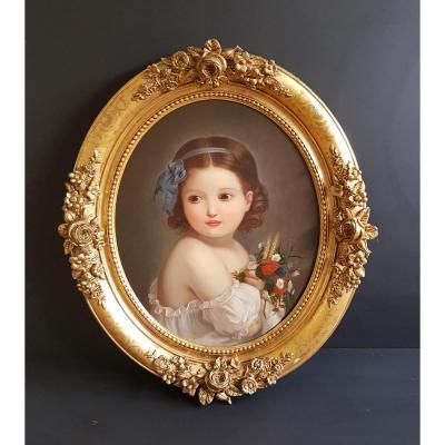 Tableau Portrait De Fillette Ecole Française Du XIXème