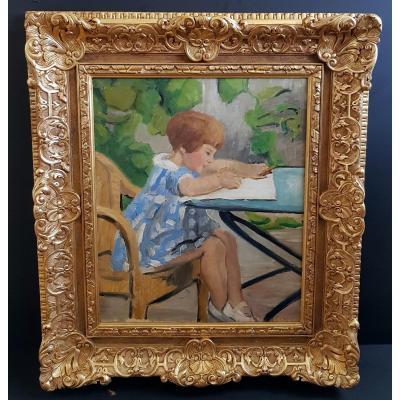 Tableau Portrait d'Enfant Début XXème Siècle