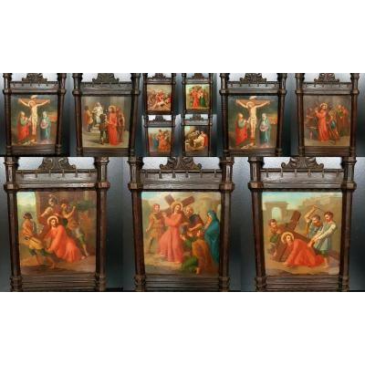 Set Of 11 Paintings On Copper Way Cross Of The Nineteenth