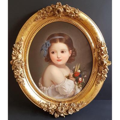 Portrait Of Little Girl French School Of The XIXth Century