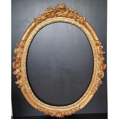 Frame In Golden And Carved Wood From The Seventeenth Century