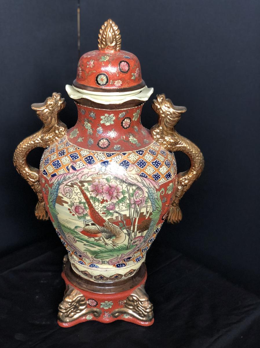 Vase En Céramique Japonaise Avec Oiseau Et Décor De Or