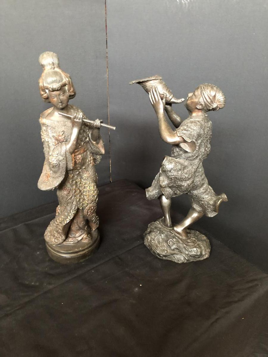 Couple De Japonaise En Bronze