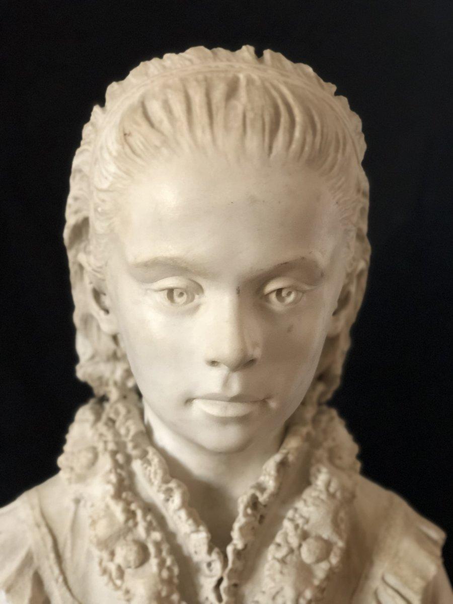 Buste De Jeune Fille En Marbre Blanc-photo-3