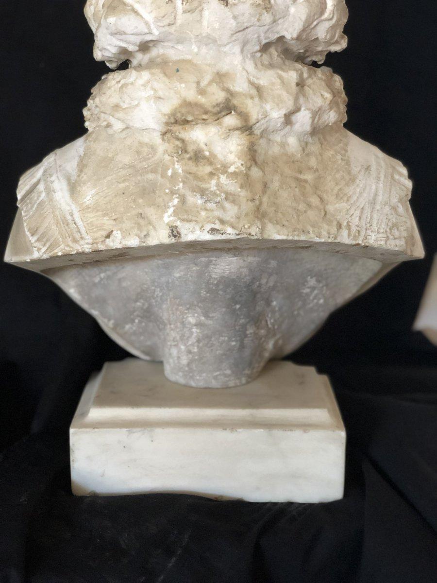Buste De Jeune Fille En Marbre Blanc-photo-2