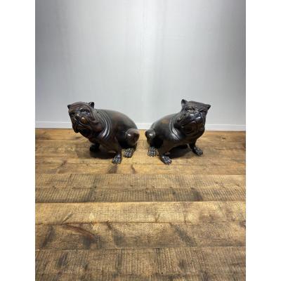 Paire De Bulldogs Anglais En Bronze Des Années 1950
