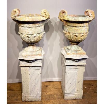 Paire De Vases En Terre Cuite Des Années 50