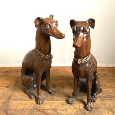 Paire De Greyhounds En Bronze Début 1900
