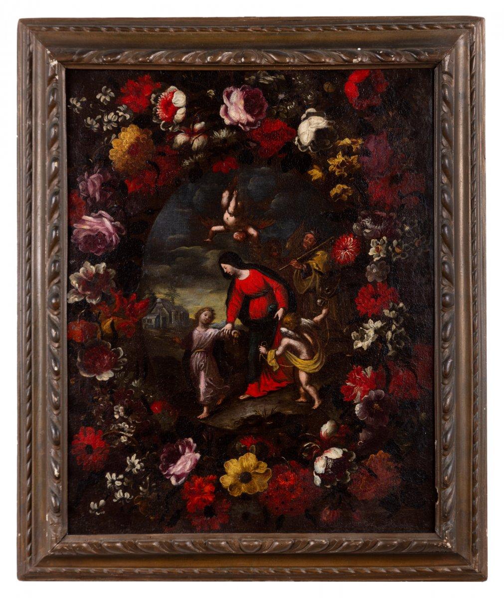 Couronne De Fleurs Avec La Sainte Famille