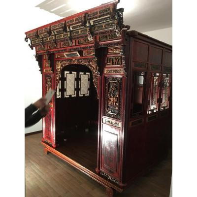 Carved Wood, Lacquered And Gilded Opium Bed China 19th Century