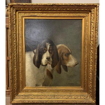 Darey Louis 1848 Paris -1917 Royan  Couple  De Basset Hound