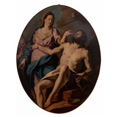 Job And His Wife (one Of Six Paintings)