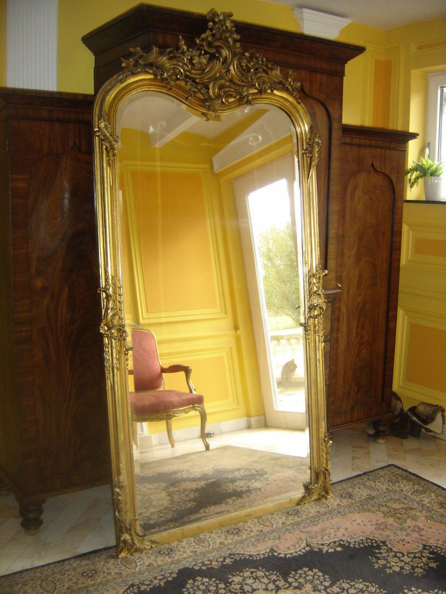 Grand et large miroir dor la feuille d 39 or d 39 poque l ph for Grand miroir large