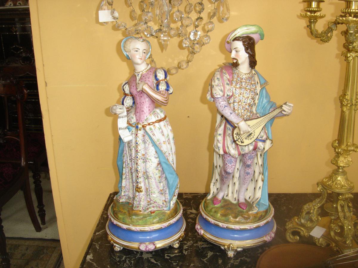 Couple Romantique En Sèvres d'époque Louis Philippe