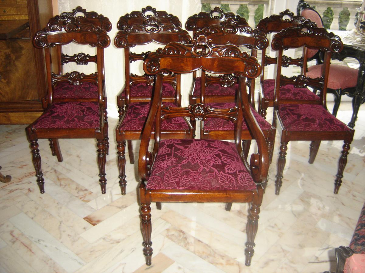 suite de 8 chaises 1 fauteuil de style charles x epo l ph chaises tabourets. Black Bedroom Furniture Sets. Home Design Ideas