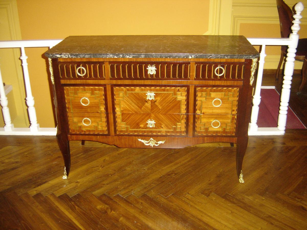 commode du 19eme si cle de style transition en marqueterie commodes. Black Bedroom Furniture Sets. Home Design Ideas