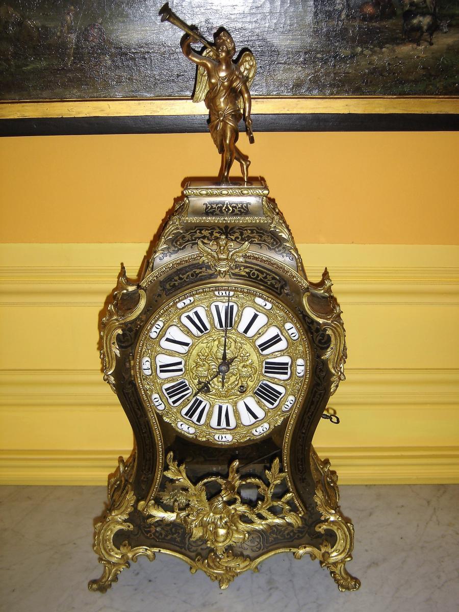 Cartel Boulle Noir De Style Louis 15 d'époque 19 Eme Richement Décoré