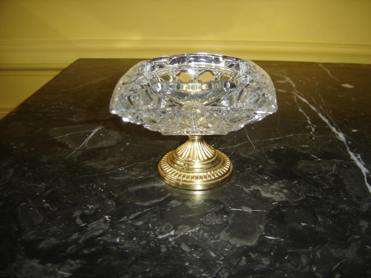 Ashtray Crystal Cut And Gilt Bronze To Gold End Middle 20 Eme