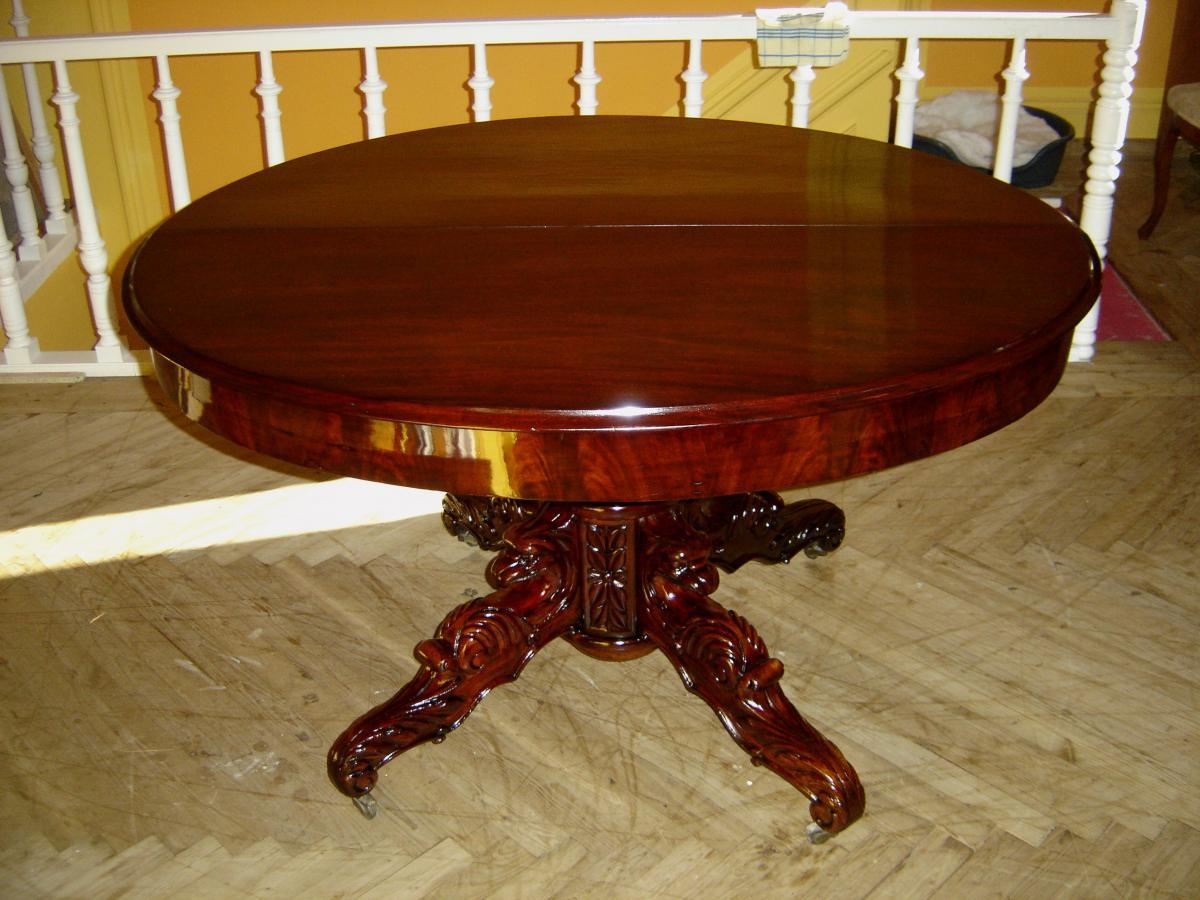 Table ovale en acajou massif allonges d 39 poque l ph for Table ovale en bois massif