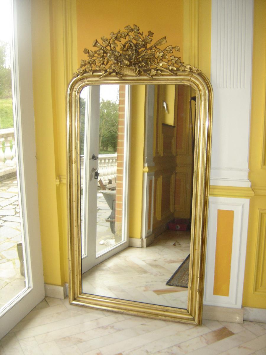 grand miroir d 39 poque louis philippe dor la feuille d. Black Bedroom Furniture Sets. Home Design Ideas